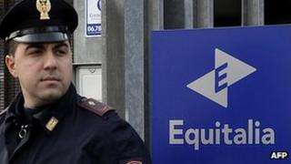 Police outside offices of Equitalia, Rome