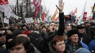 Protesters shout anti-Putin slogans during a mass rally to protest against alleged vote rigging in Russia's parliamentary elections in Moscow, Russia