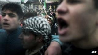 Pro-reform Syrians in the village of Kansafra, Jabal al-Zawiya region in the northern Idlib province on 9 December 2011
