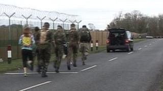 The Royal Marines setting off from RAF Brize Norton