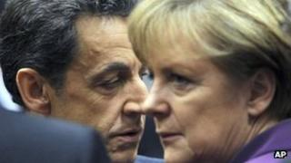 Nicolas Sarkozy and Angela Merkel at the EU summit