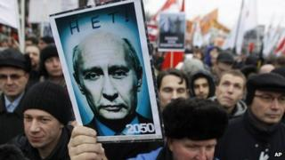 Demonstrator holds a manipulated photo of Vladimir Putin with the words 'No! 2050' at a protest rally in Moscow, Russia, on 10 December 2011