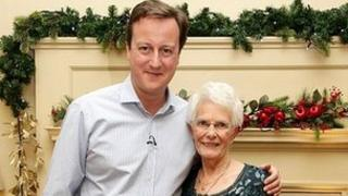 Doreen Roberts, from Somerset and Prime Minister David Cameron,