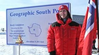 Norwegian Prime Minister Jens Stoltenberg at the geographic South Pole on 12 December 2011