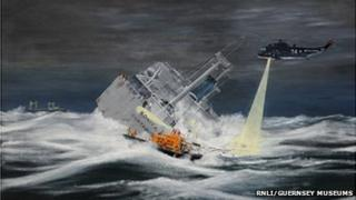 Artist's impression of the rescue of the Bonita with Guernsey's lifeboat in the foreground