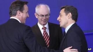 David Cameron and Nicolas Sarkozy with Herman van Rompuy (9 Dec 2011)