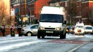 White van within security cordon