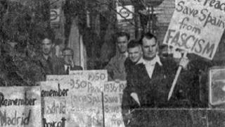 Morgan Havard (far right) protesting against the Spanish fascist government