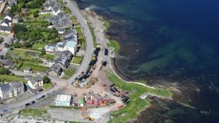 Aerial picture of the waste water infrastructure work being carried out