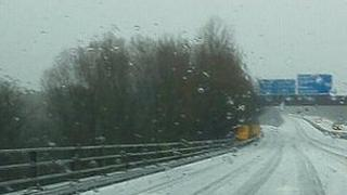 Picture of hail on the M4 near Coryton, taken by David of Cardiff