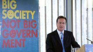 David Cameron giving a speech on the Big Society in 2010