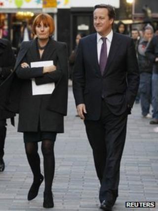 Prime Minister David Cameron with retail expert Mary Portas