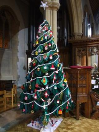 The knitted tree at St Aldhelm's Church in Branksome, Poole