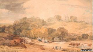 Donnington Castle, taken from a Field adjoining the Road to East Ilsley, from Newbury by JMW Turner
