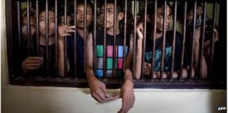 A group of arrested Indonesian punks are jailed in Banda Aceh police station in Aceh province