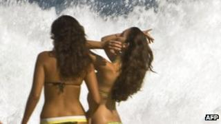 Girls on a Rio beach - archive pic