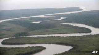 A river in Nigeria's oil-rich Niger Delta region (23 May 2009)