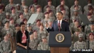 US President Barack Obama delivers a speech at Fort Bragg 14 December 2011