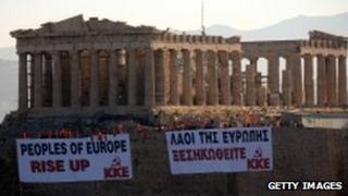 Acropolis with protest banners