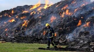 Firefighters attending straw fires at Witcham Toll, Cambridgeshire