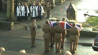 Rifleman Steel's coffin is carried into church