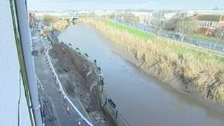 The damaged river wall by the River Parrett in Bridgwater