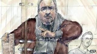 Paris courtroom sketch of Carlos the Jackal. 15 Dec 2011