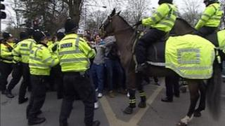 Police action at south coast derby in 2010