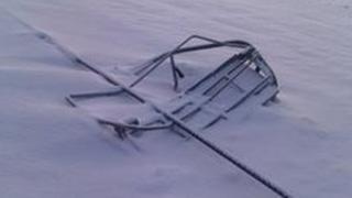 Damaged quad chair at Nevis Range. Pic: Nevis Range