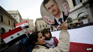 A small rally in support of Syrian President Bashar al-Assad in Rome, Italy on 22 November 2011