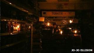 Candlelit newsagent