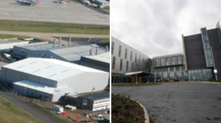 Hangar and hotel at East Midlands Airport
