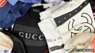 Counterfeit handbags and clothes