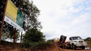 A sign informing about the Belo Monte dam construction work
