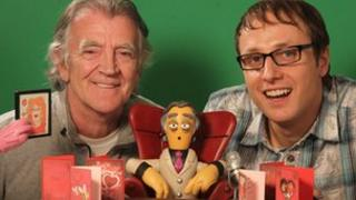 Gerry Anderson and Joel Simon with a miniature Gerry