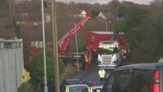 Lorry stuck in Llansamlet