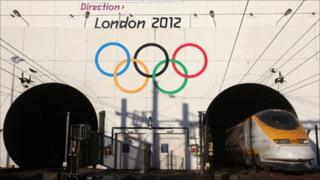Olympic rings outside Channel Tunnel near Calais, France, image courtesy of Locog