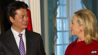 Japanese Foreign Minister Koichiro Gemba and US Secretary of State Hillary Clinton in Washington, 19 December