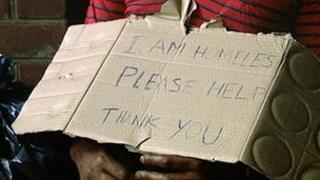 Cardboard sign reading: 'I am homeless please help. Thank you'
