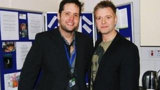 Darren Day with client services manager Stuart Gibbons