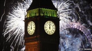 Big Ben and New Year's Eve fireworks