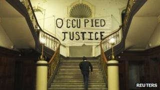 Occupy London banner at Old Street Magistrates Court