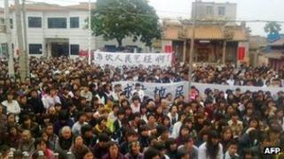 Image of protesters in Wukan on 14 December 2011