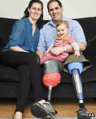 Marisa Harmer, Sophia Harmer, aged nine-and-a-half months, and British Army medic Simon Harmer
