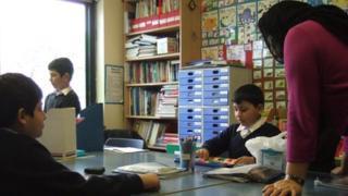 Pupils in English language class
