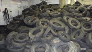 The tyre dump at Glan Conwy