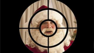 Santa in cross hairs composite