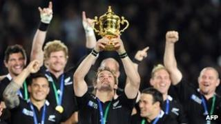 New Zealand rugby team with World Cup