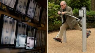 Flatscreen TVs and an elderly man in a pensioners playground