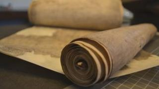 A collection of medieval parchment rolls digitised as part of the project. Picture: Borthwick Institute for Archives